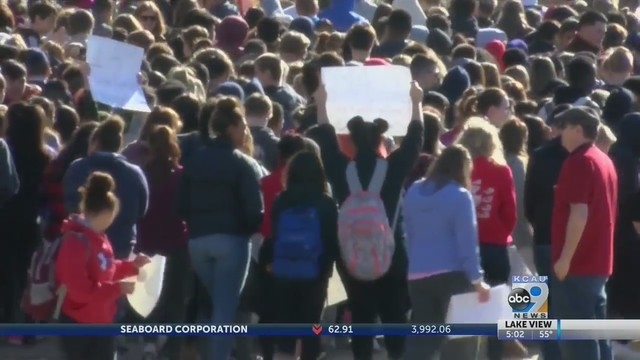 Students walk out of school to honor school shooting victims