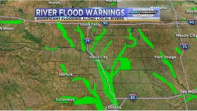 River Levels in Siouxland Friday Night